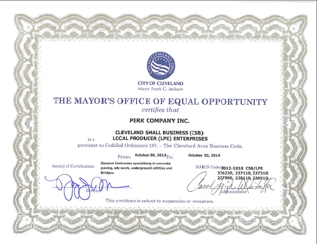 Perk Company - City of Cleveland, SBE LPE Certification