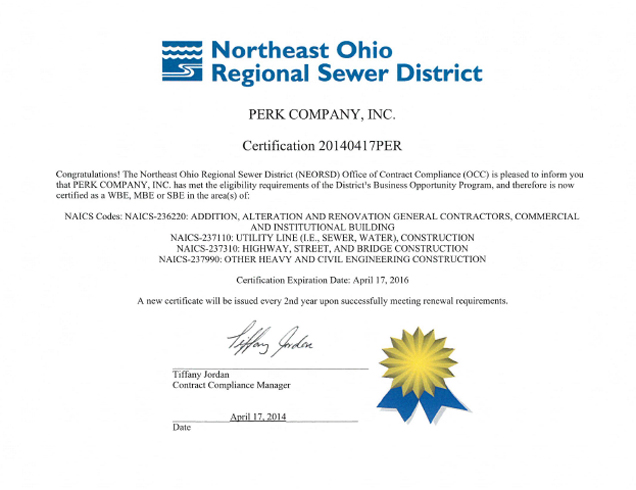 Perk Company - Northeast Ohio Sewer District SBE Certification
